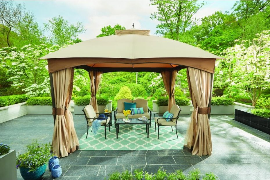 hampton bay 10 ft x 12 ft turnberry outdoor patio gazebo with mosquito netting and private curtain