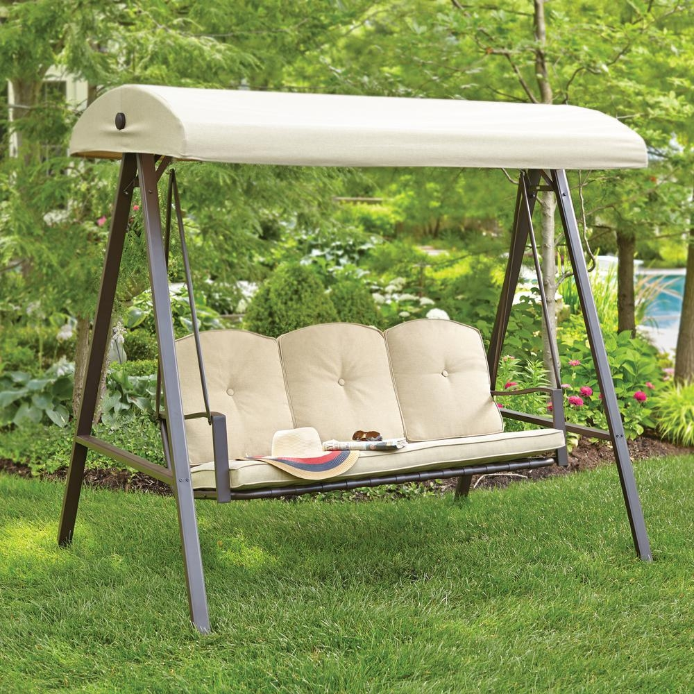 hampton bay cunningham 3 person metal outdoor swing with canopy