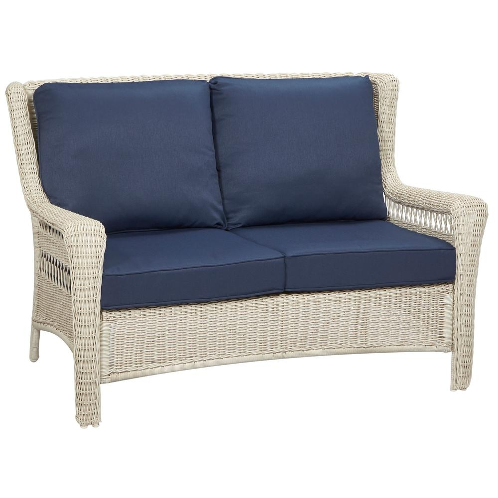 hampton bay park meadows off white wicker outdoor loveseat with