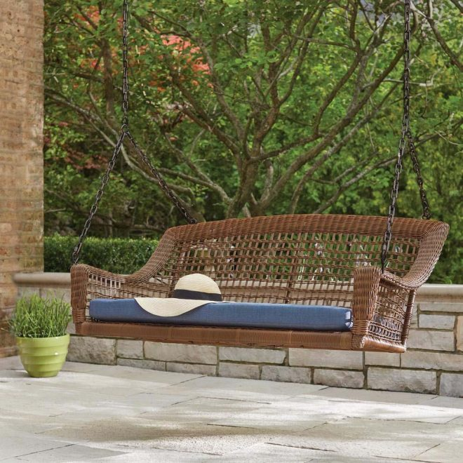 hampton bay spring haven brown 2 person wicker outdoor swing with