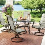 hampton bay statesville 5 piece padded sling patio dining set with 53 in glass top