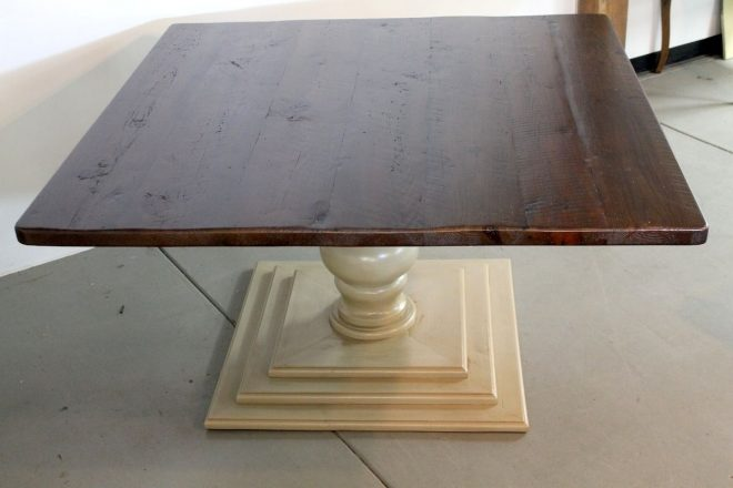 hand crafted 60 x 60 square dining room table with tiered