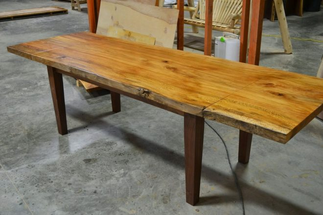 hand made live edge slab dining table with extensions corey