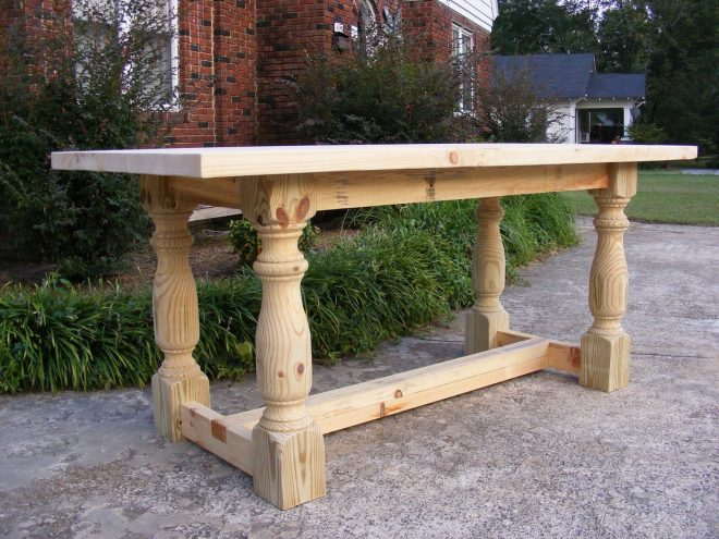 handcrafted solid pine 36 inch tall dining or kitchen table