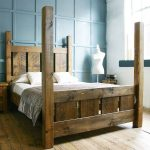 handmade solid wood rustic chunky slatted four poster double