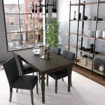handy living brisbane charcoal black linen upholstered dining chairs set of 4