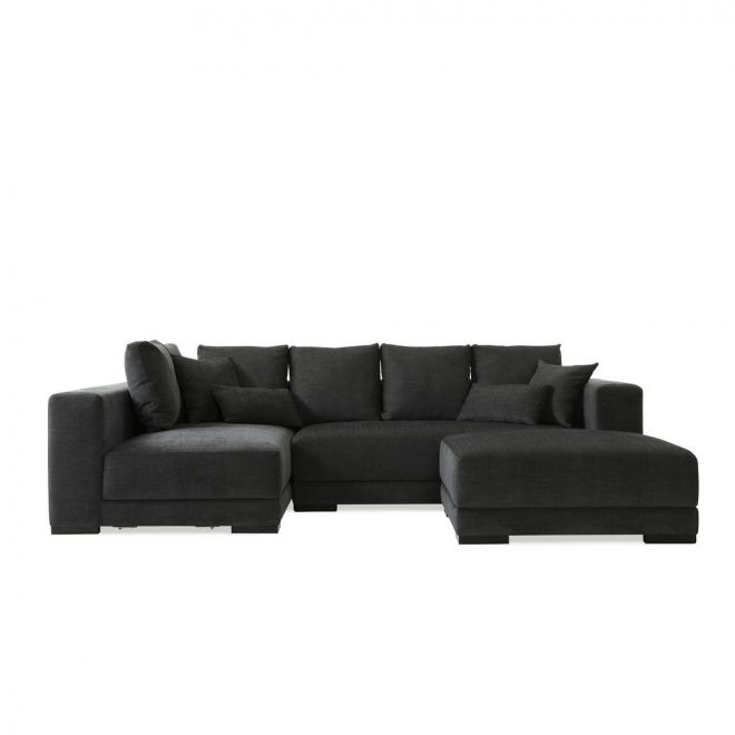 handy living greenwich sectional in charcoal bluegray chenille linen