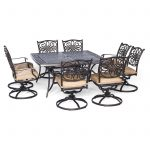 hanover outdoor traditions 9 piece dining set with large square table and 8 swivel rockers natural oatbronze walmart