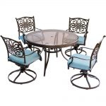 hanover traditions 5 piece aluminum outdoor dining set with round glass top table and swivel chairs with blue cushions
