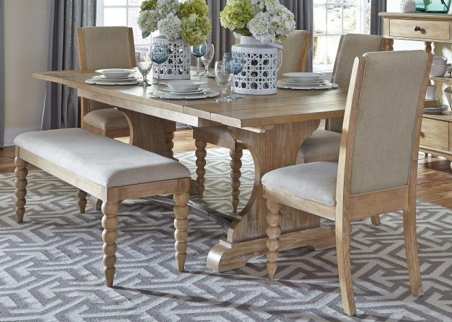 harbor view trestle table and 4 upholstered side chairs and dining bench set liberty furniture at wayside furniture