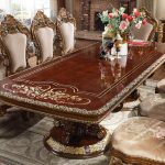 hd 1803 homey design long dining table victorian style burl metallic antique gold