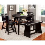 heather modern black 7 piece counter height dining table set foa