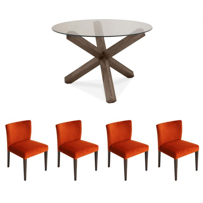 hennessey circular glass dining table 4 harvest pumpkin chairs