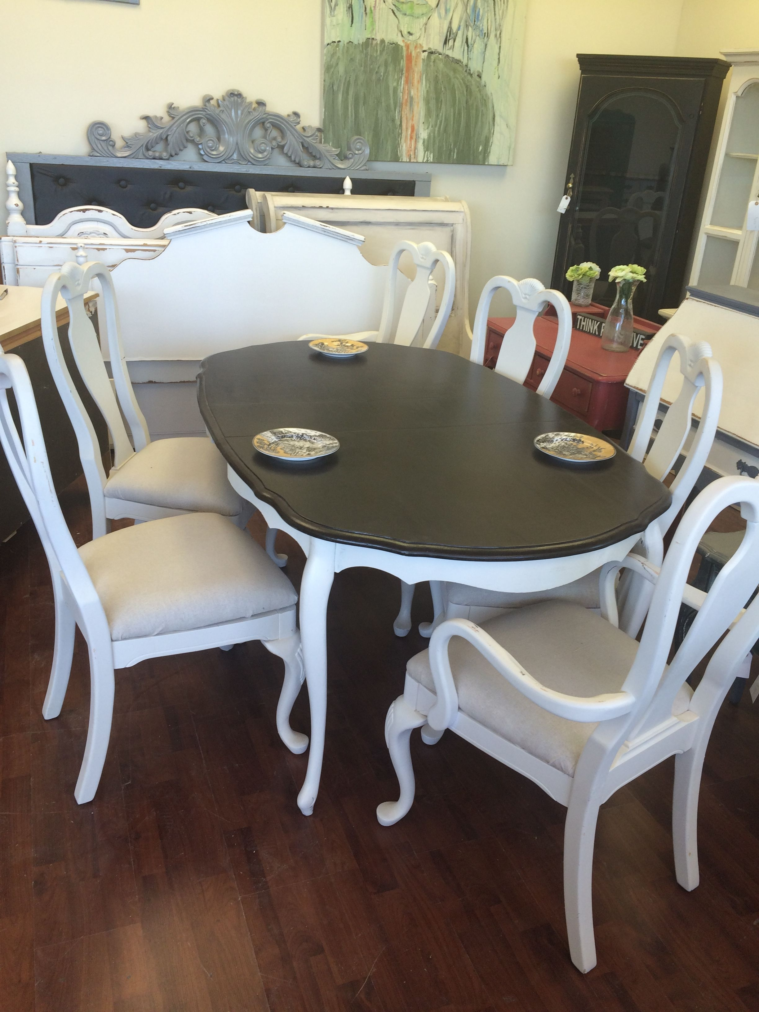 here is a queen anne table and six chairs that i painted a