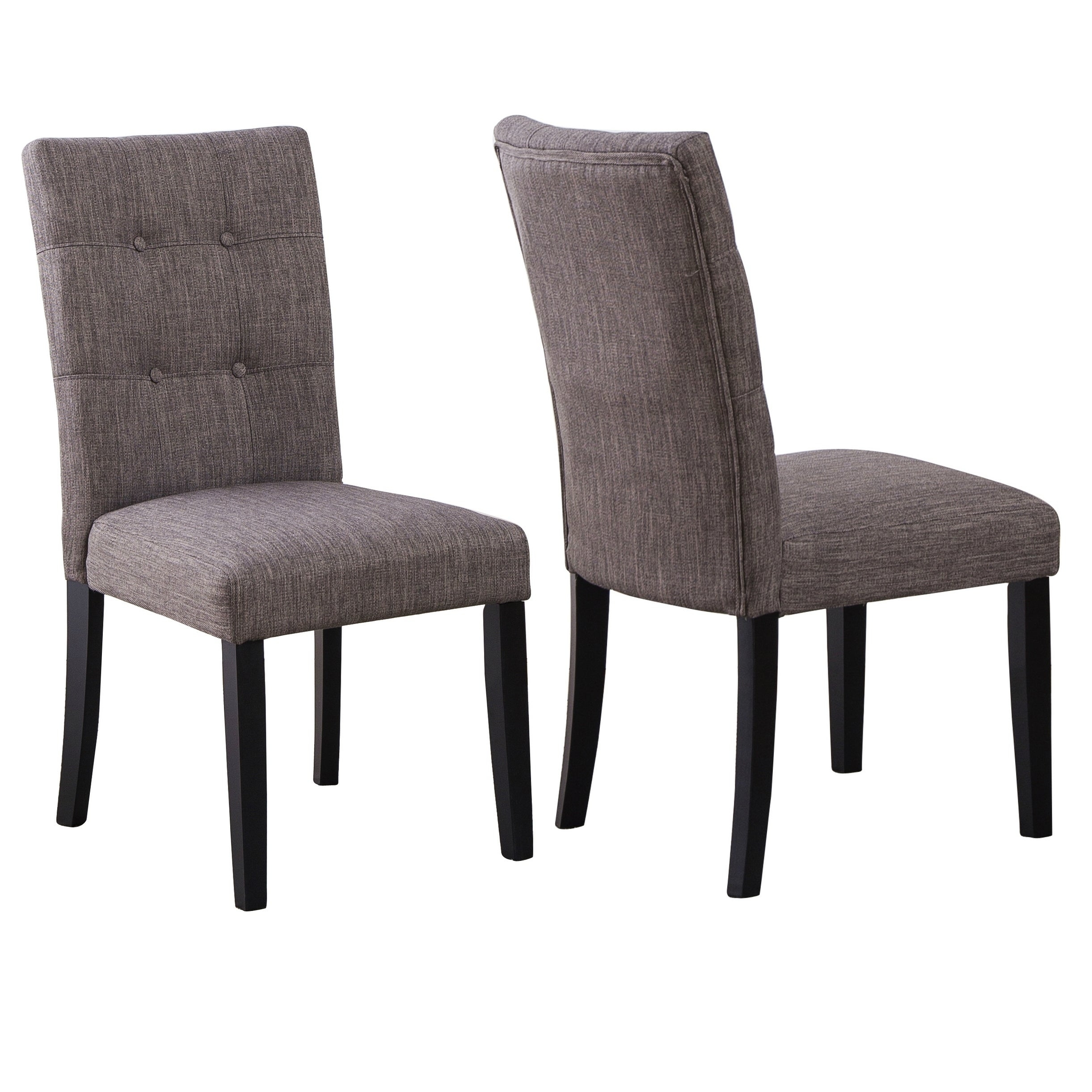 high back dark grey linen tufted upholstered dining chairs set of 2 na
