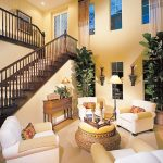 high ceiling vintage yellow and white home interior design
