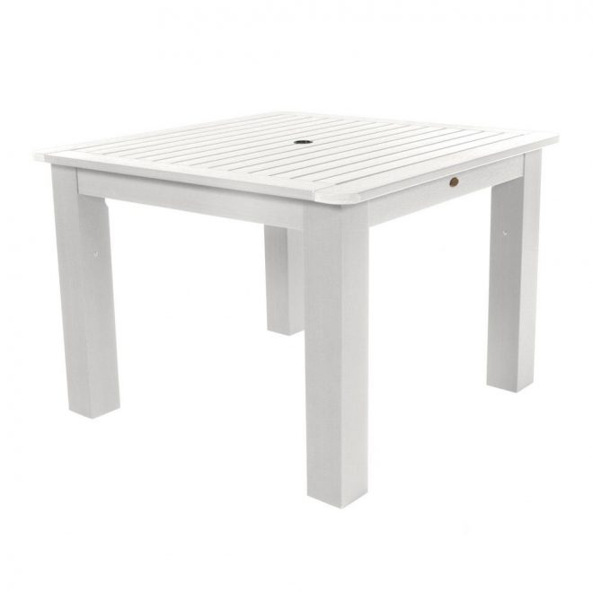 highwood white square recycled plastic outdoor dining table