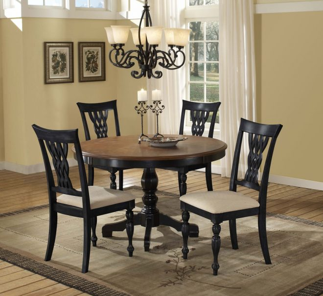 hillsdale embassy round pedestal dining table rubbed black