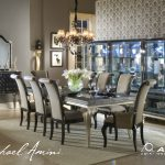 hollywood swank dining table set in pearl caviar finish