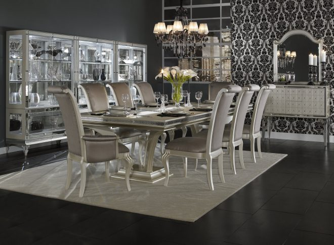 hollywood swank formal dining room collection in pearl aico