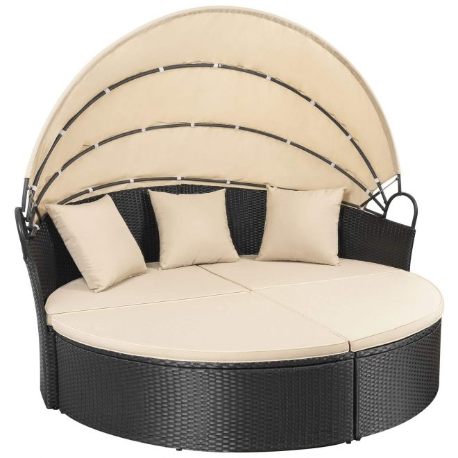 homall outdoor patio round daybed with retractable canopy wicker furniture sectional seating with washable cushions for patio backyard porch pool