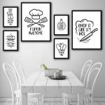 home decor canvas painting black and white simple abstract kitchen tools pictures wall art prints modular poster for restaurant