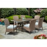 home decorators collection bolingbrook 7 piece wicker outdoor patio dining set with sunbrella spectrum mist cushions