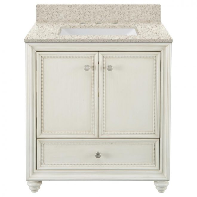 home decorators collection dellwood 31 in w x 22 in d bath vanity in antique white with engineered quartz vanity top in sedona with white sink