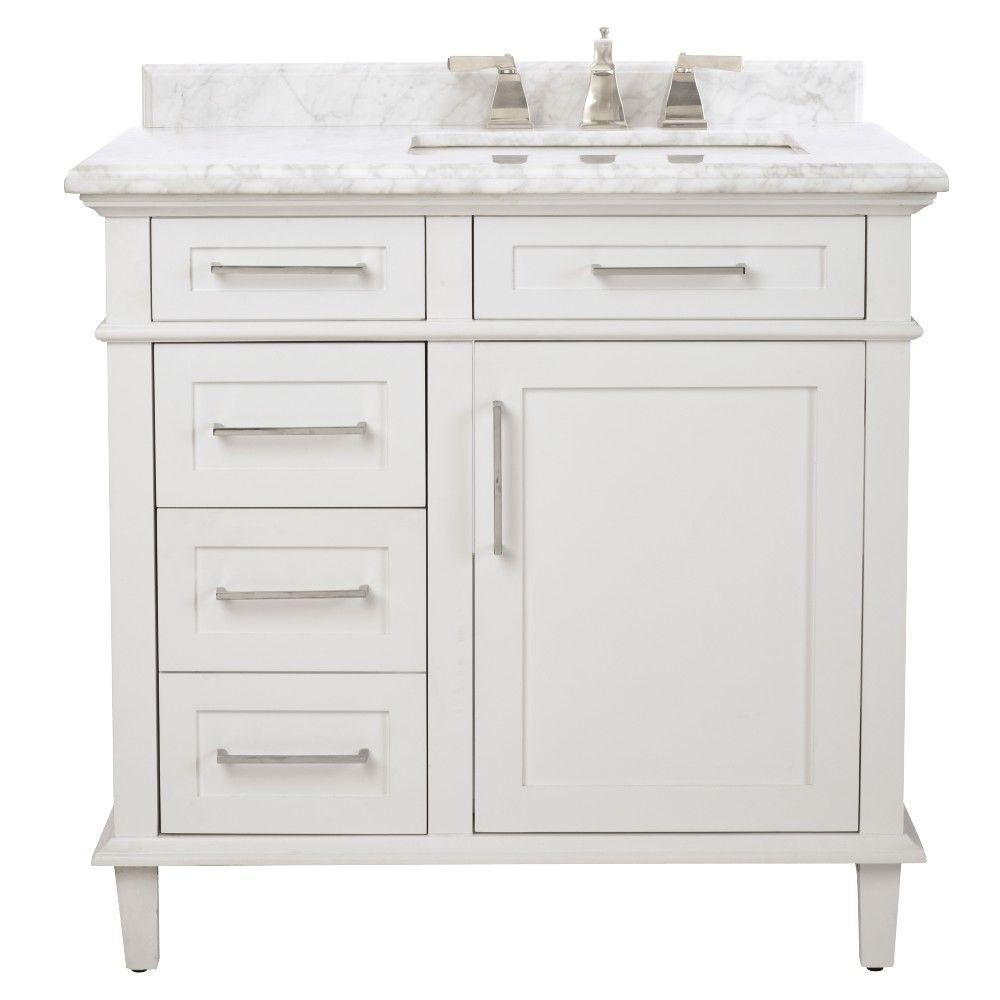 home decorators collection sonoma 36 in w x 22 in d bath vanity in white with carrara marble top with white sinks