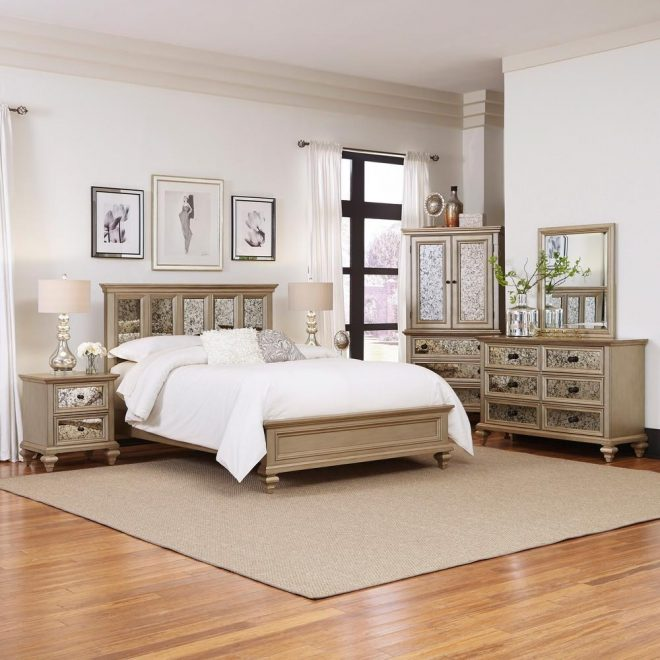 home styles visions 5 piece silver gold champagne finish king bedroom set