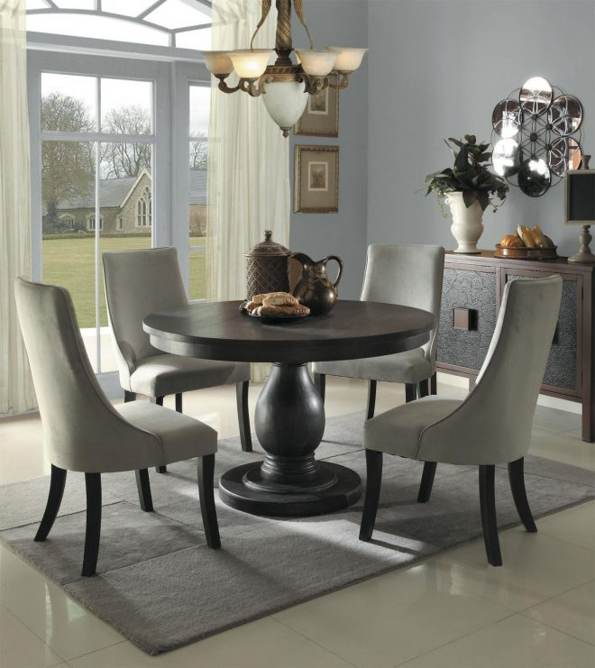 homelegance dandelion 5pc dining table set in taupe
