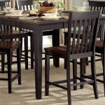 homelegance three falls counter height table two tone dark brownblack sand