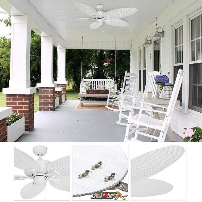 honeywell duvall tropical ceiling fan five wet rated wicker blades indooroutdoor white 52 inch