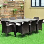 hot item outdoor 9pcs patio furniture brown rattan table chairs garden dining set with cushions