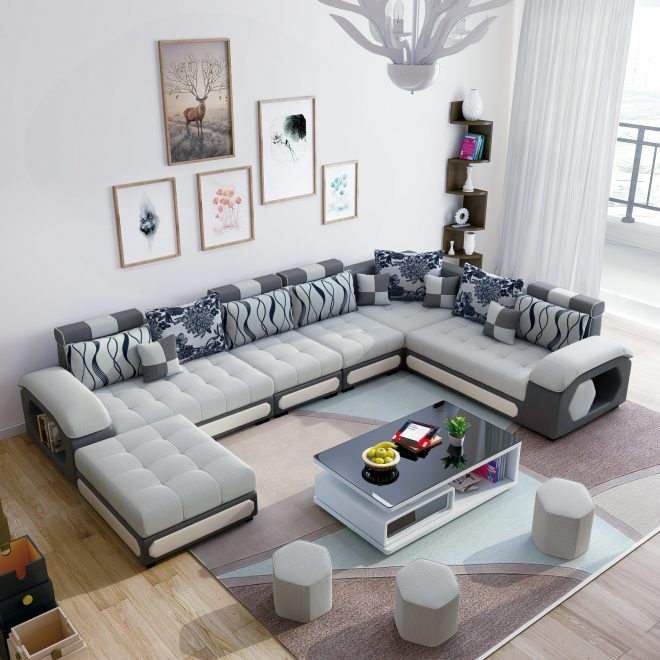 hot item white color u shape modern sectional sofa couch chaise s889