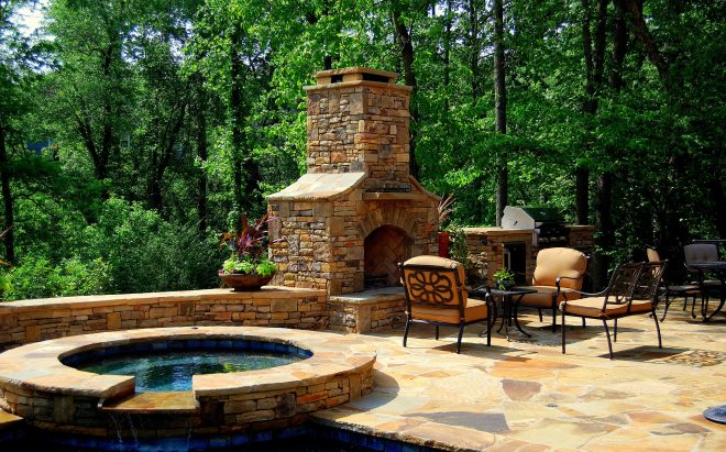 hot tub outdoor fireplace and kitchen love it in 2019