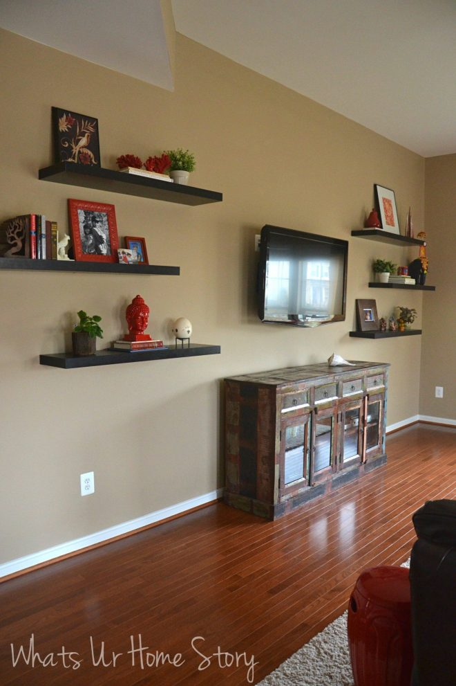how to decorate around a tv with floating shelves for the home
