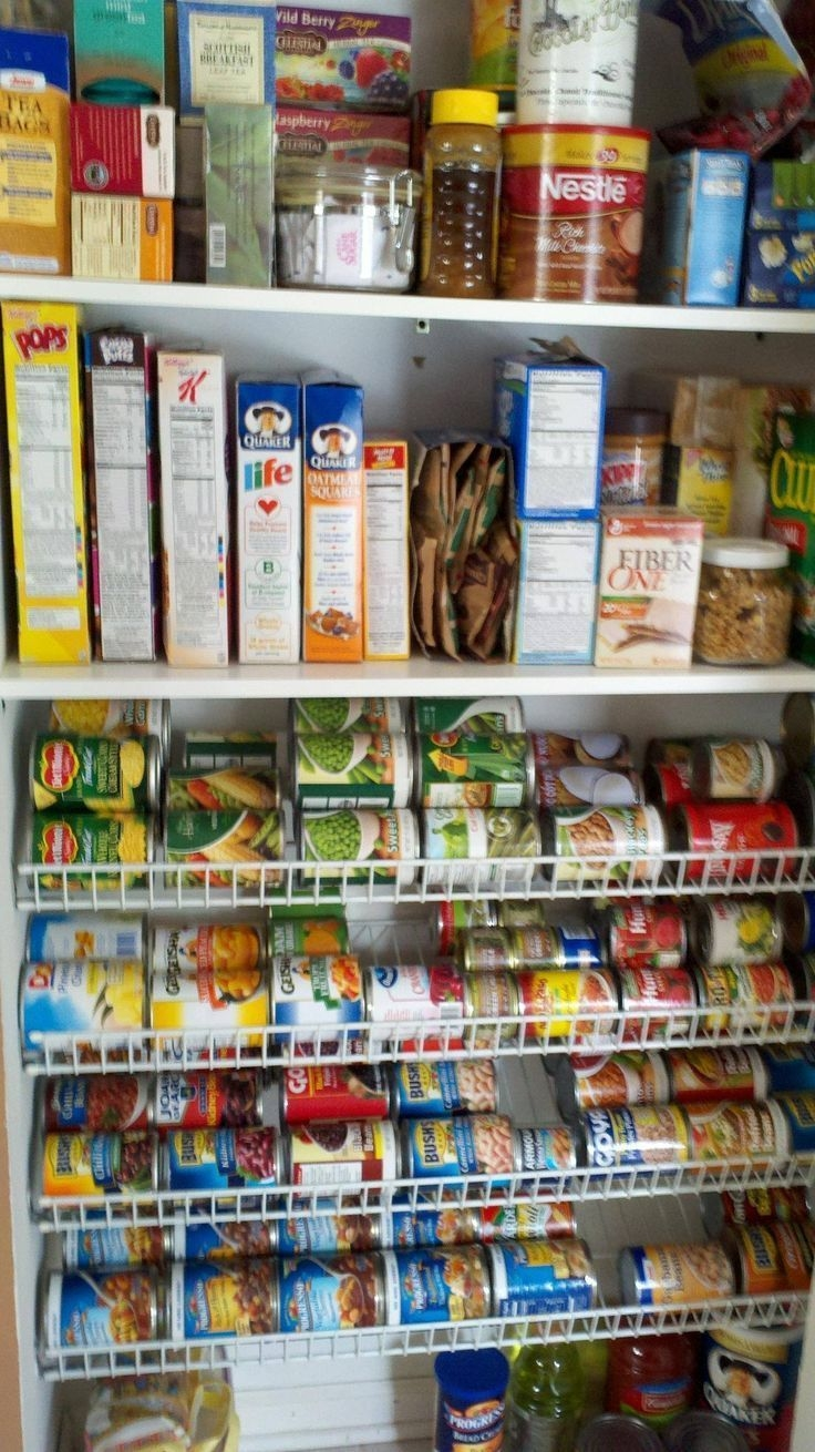 how to organize canned goods wire shelves flipped upside down at