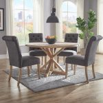 huntington beige linen button tufted dining chair set of 2