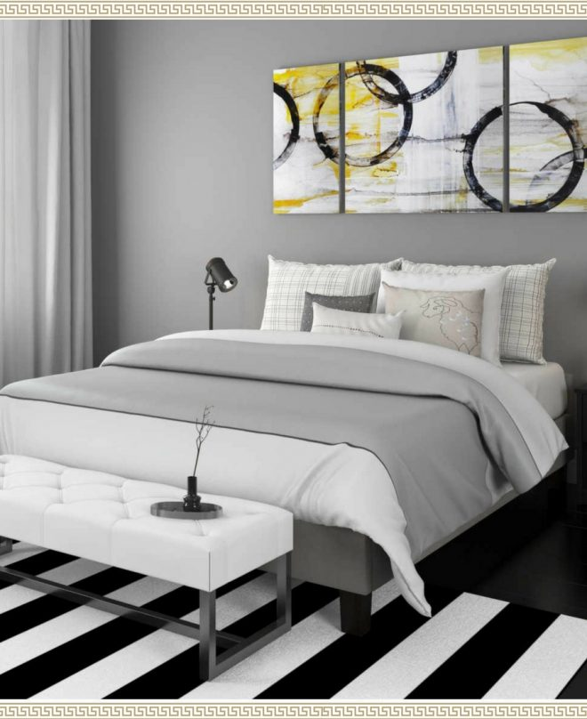 i love this black white gray and gold bedroom the black