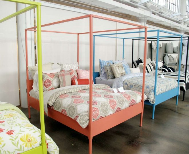 ikeas edland bed fram painted in a rainbow of hues