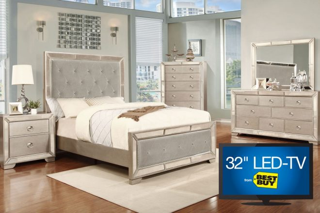 image 5 piece queen bedroom set with 32 led tv