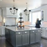 image result for kitchen grey floor white cabinets
