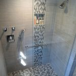image result for large gray tile shower light blue mosaic