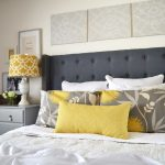 in love diy tufted headboard with wings and nailhead trim