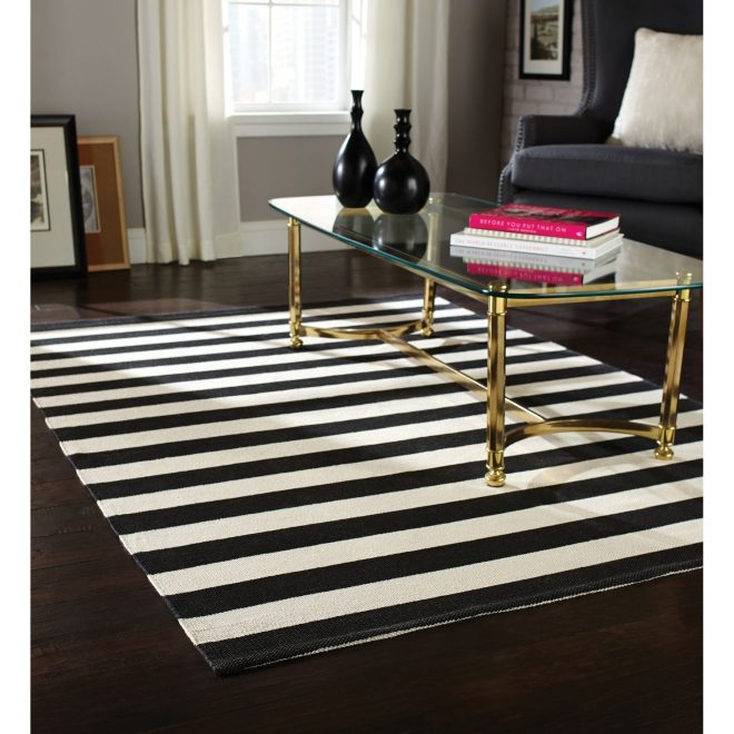 incredible black white striped rug olin cotton dhurrie crate