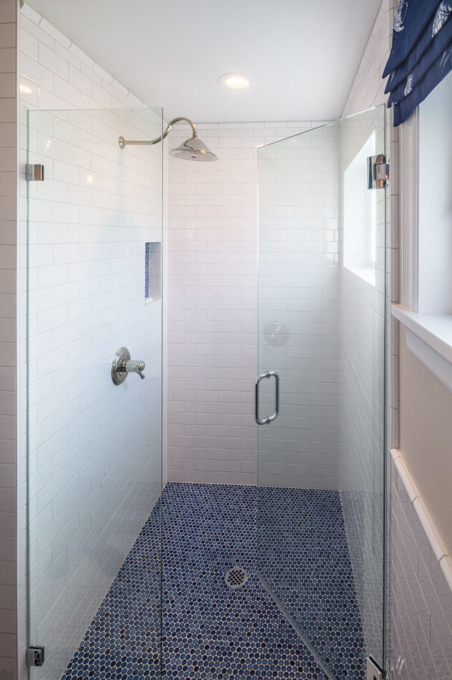 indigo and white bathroom with blue penny tile floors ralph
