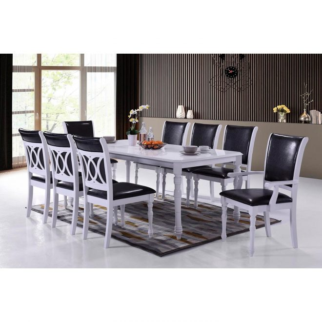 indoor black and white modern 9pc dining set with a solid wood rectangular dining table and 8 upholstered dining chairs