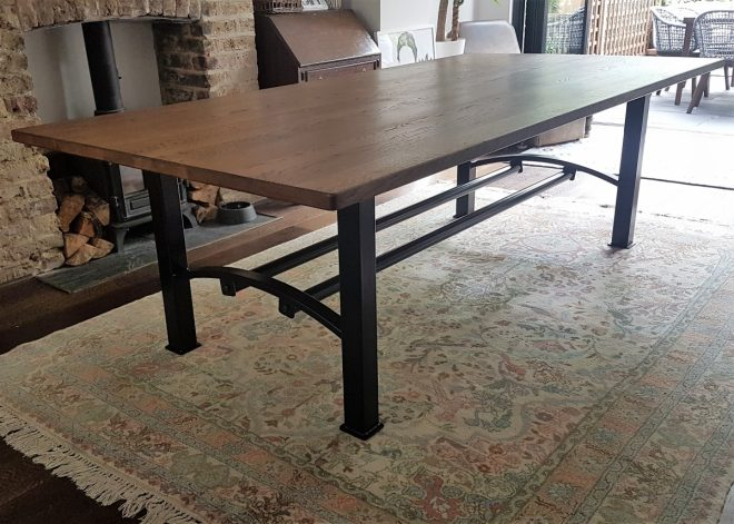 industrial based dining tables from recycled steel and iron