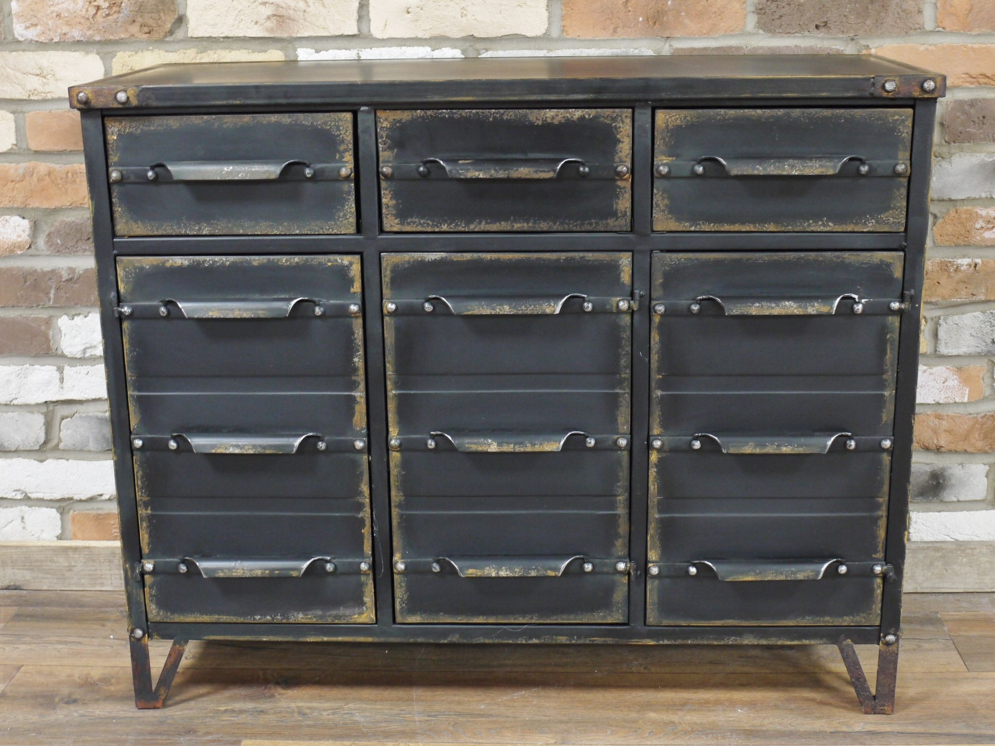 industrial grey metal chest of drawers cabinet